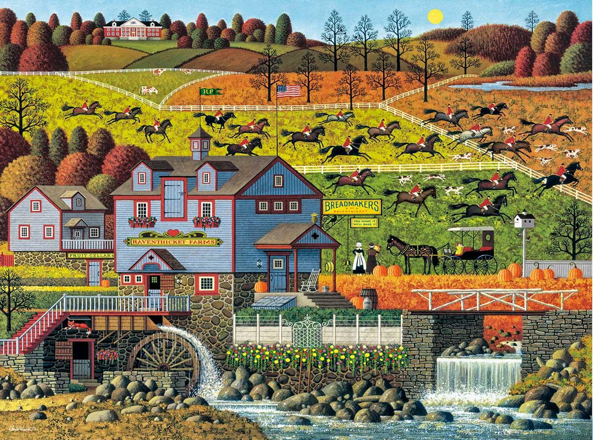Foxy Fox Outfoxes The Fox Hunters Americana & Folk Art Jigsaw Puzzle