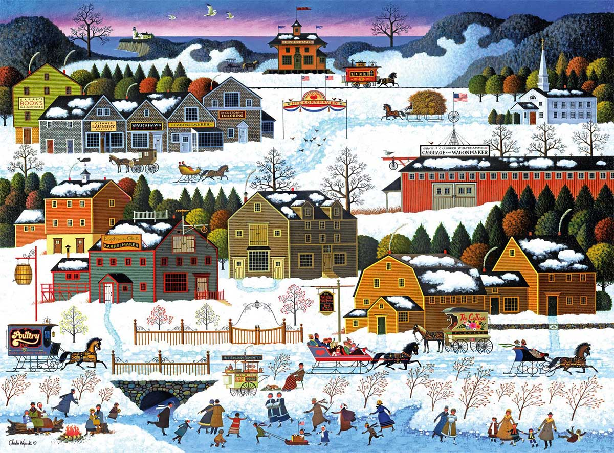 Hickory Haven Canal Winter Jigsaw Puzzle