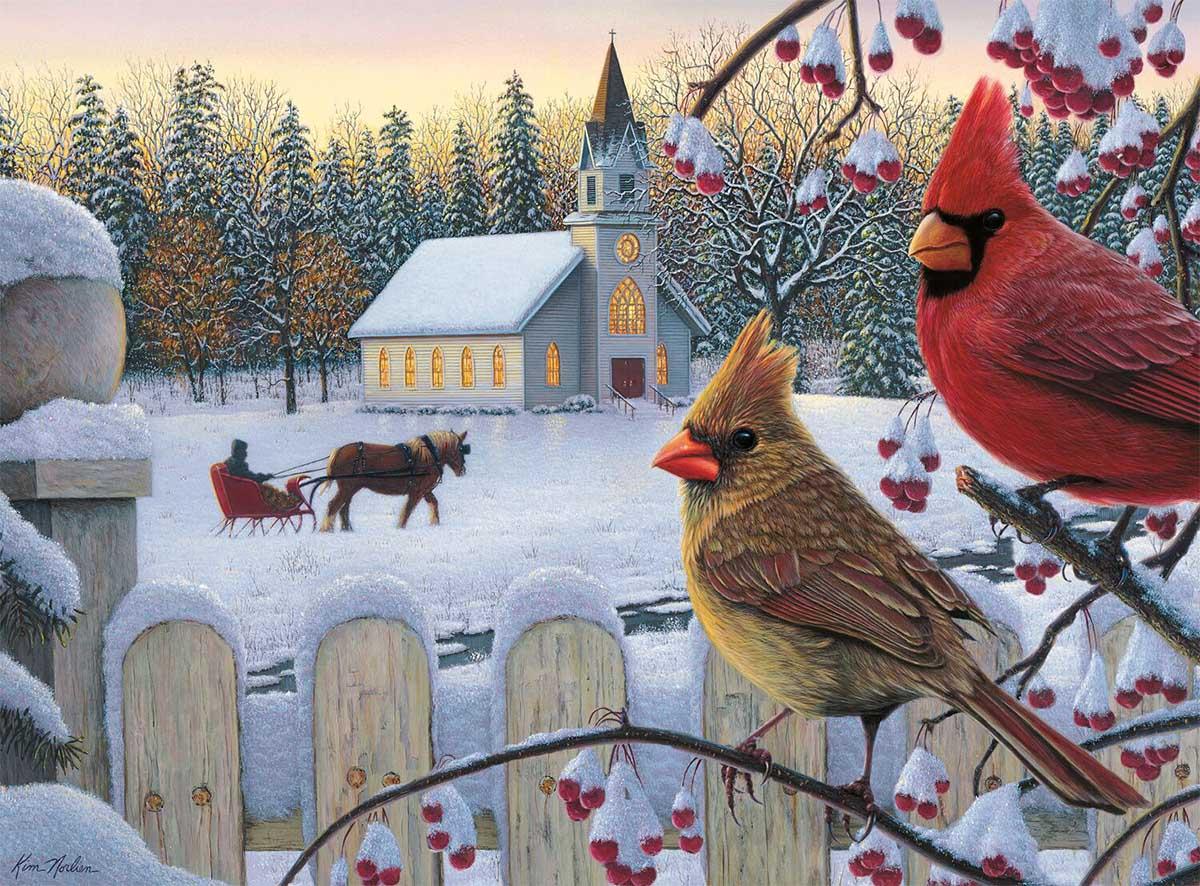 White Crimson Morning Birds Jigsaw Puzzle