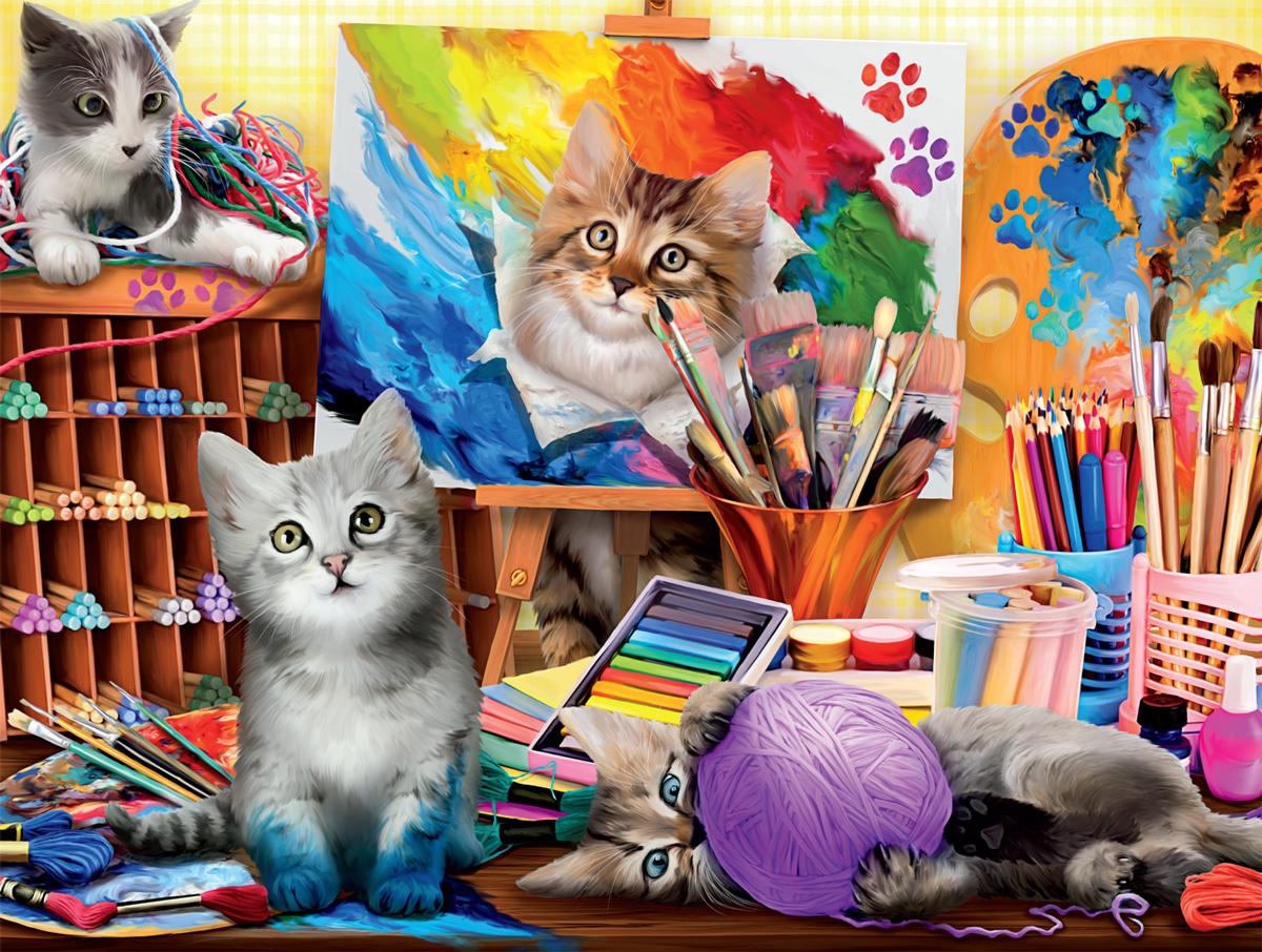 Art Shop Kittens Cats Jigsaw Puzzle