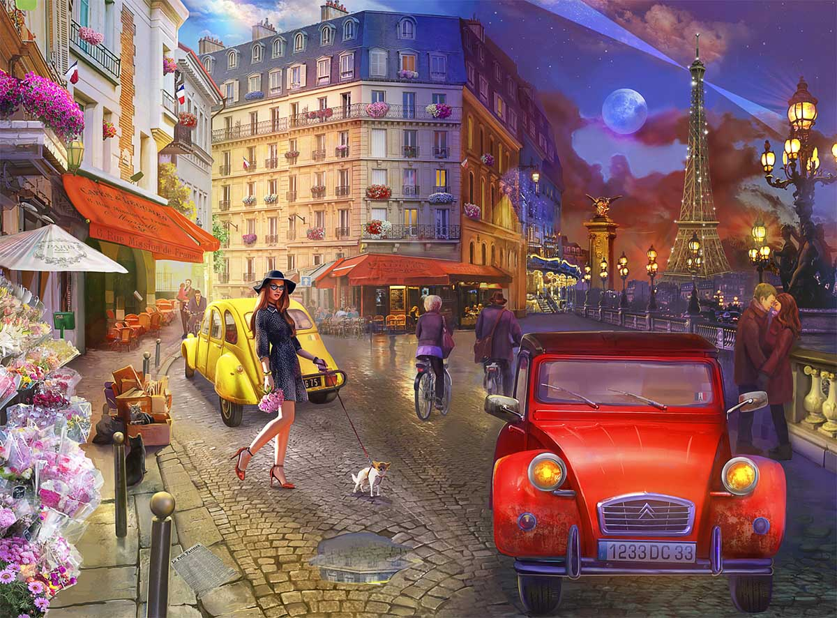 A Stroll in Paris Street Scene Jigsaw Puzzle
