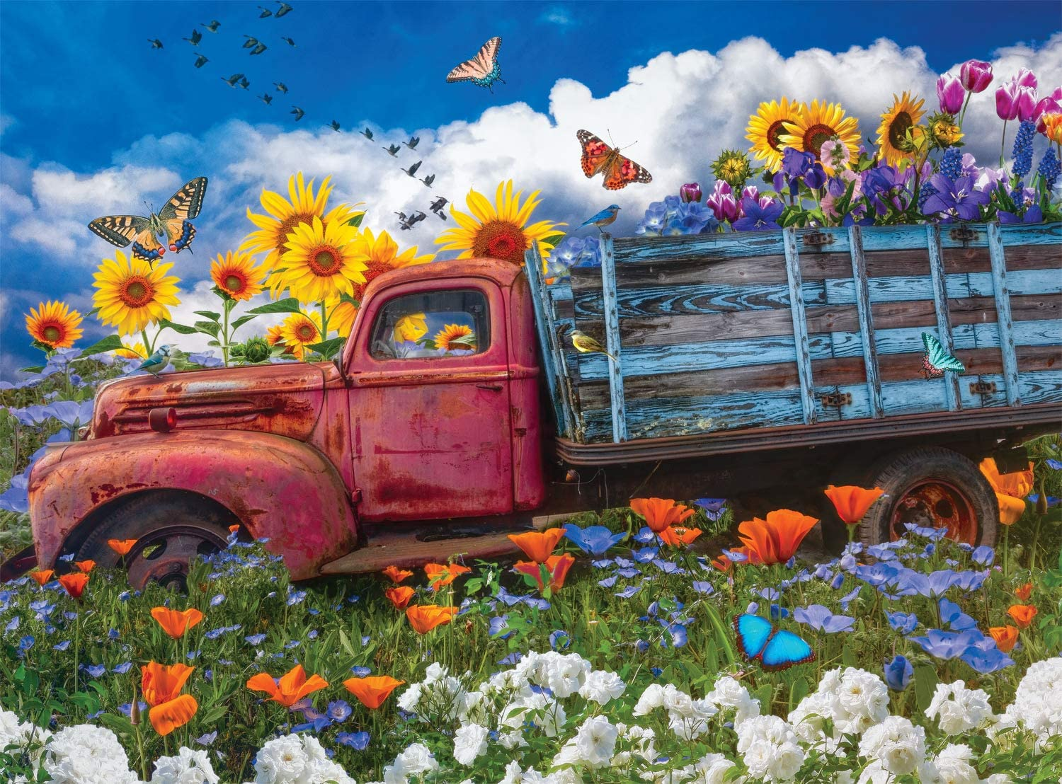 Wildflowers on the Farm Cars Jigsaw Puzzle