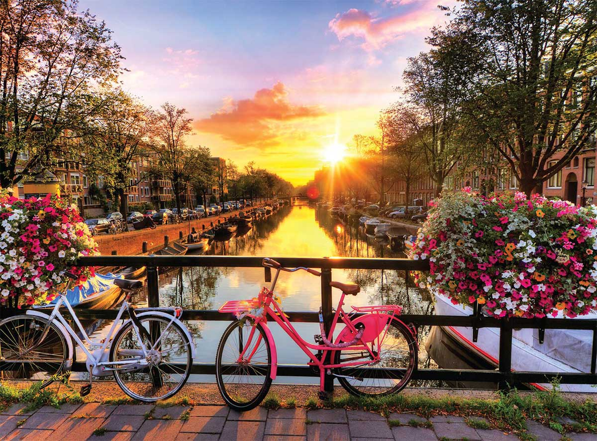 Cycling in Amsterdam Bridges Jigsaw Puzzle