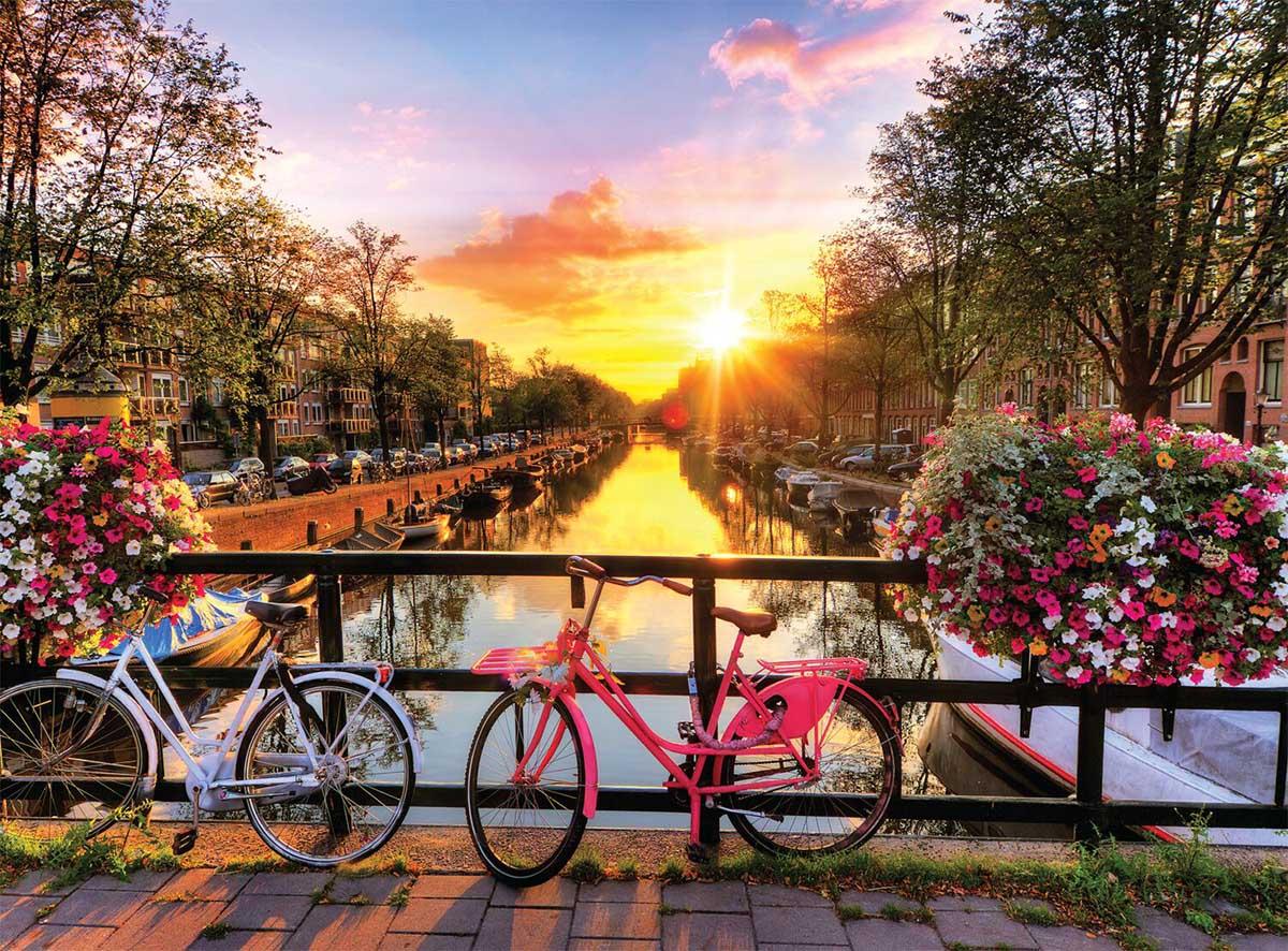 Cycling in Amsterdam Bridges Jigsaw Puzzle
