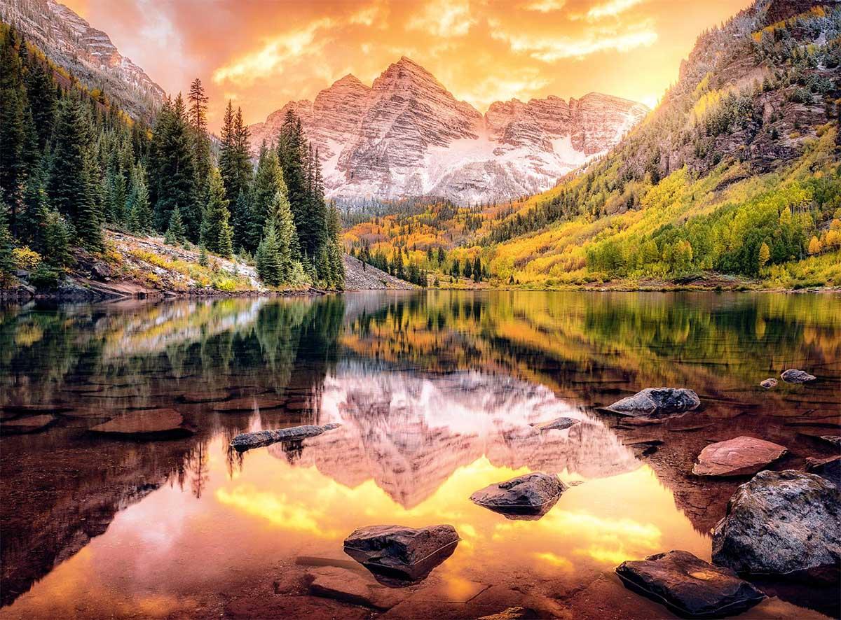 Maroon Lake Reflection Mountains Jigsaw Puzzle
