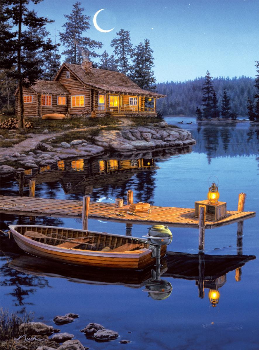 Crescent Moon Bay Lakes / Rivers / Streams Jigsaw Puzzle