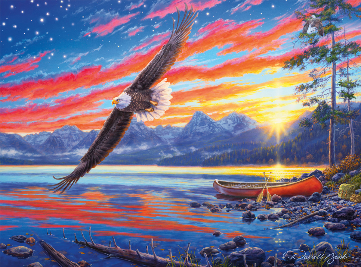 Star Spangled Sunset Mountains Jigsaw Puzzle