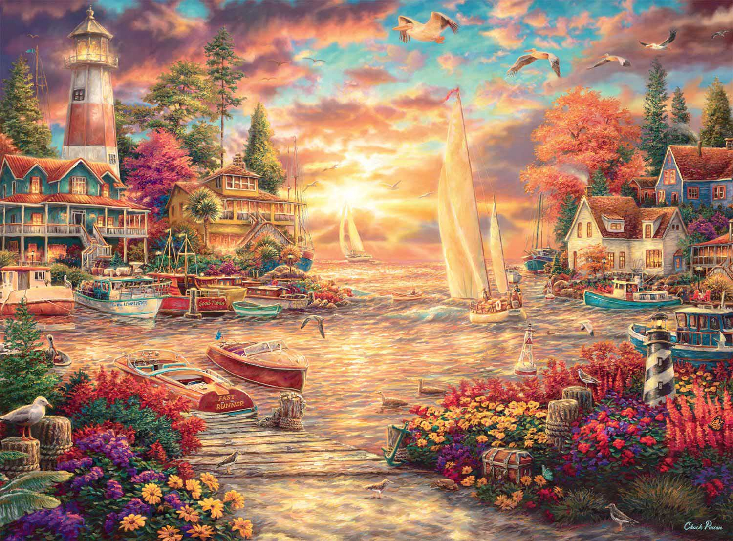 Into the Sunset Boats Jigsaw Puzzle