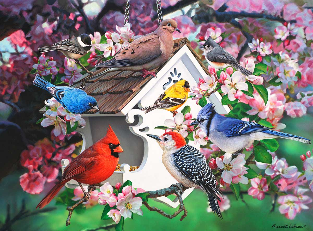 Among the Apple Blossoms Birds Jigsaw Puzzle