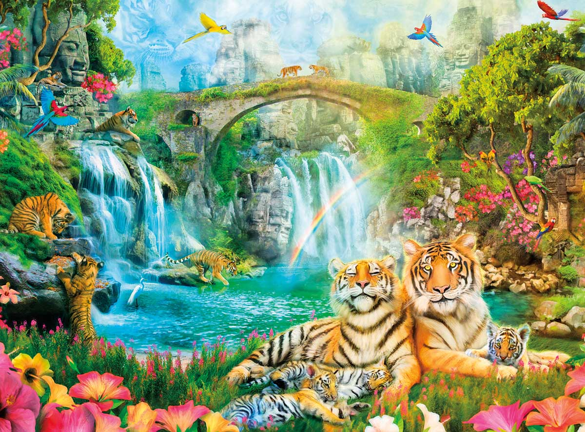 Majestic Tiger Grotto Birds Jigsaw Puzzle