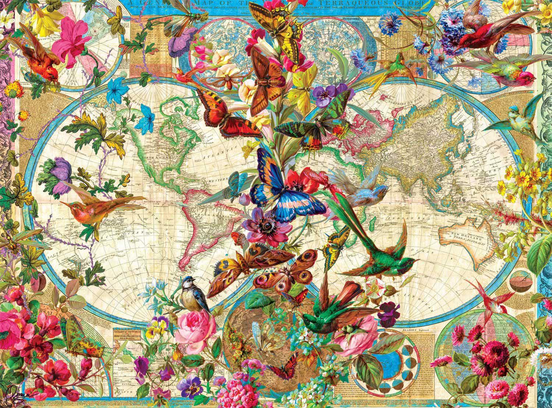 Birds, Butterflies, and Blooms Map Birds Jigsaw Puzzle