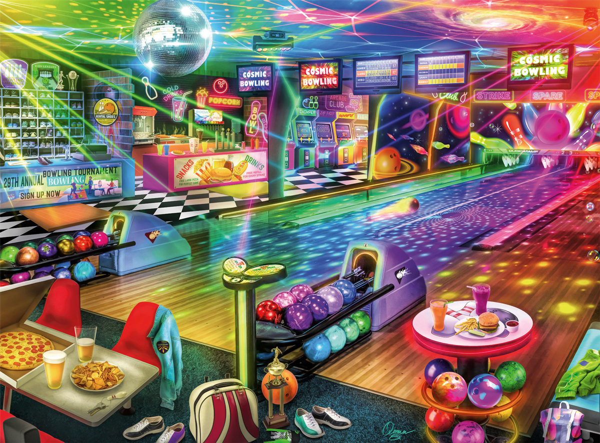 Blacklight Bowling Sports Jigsaw Puzzle
