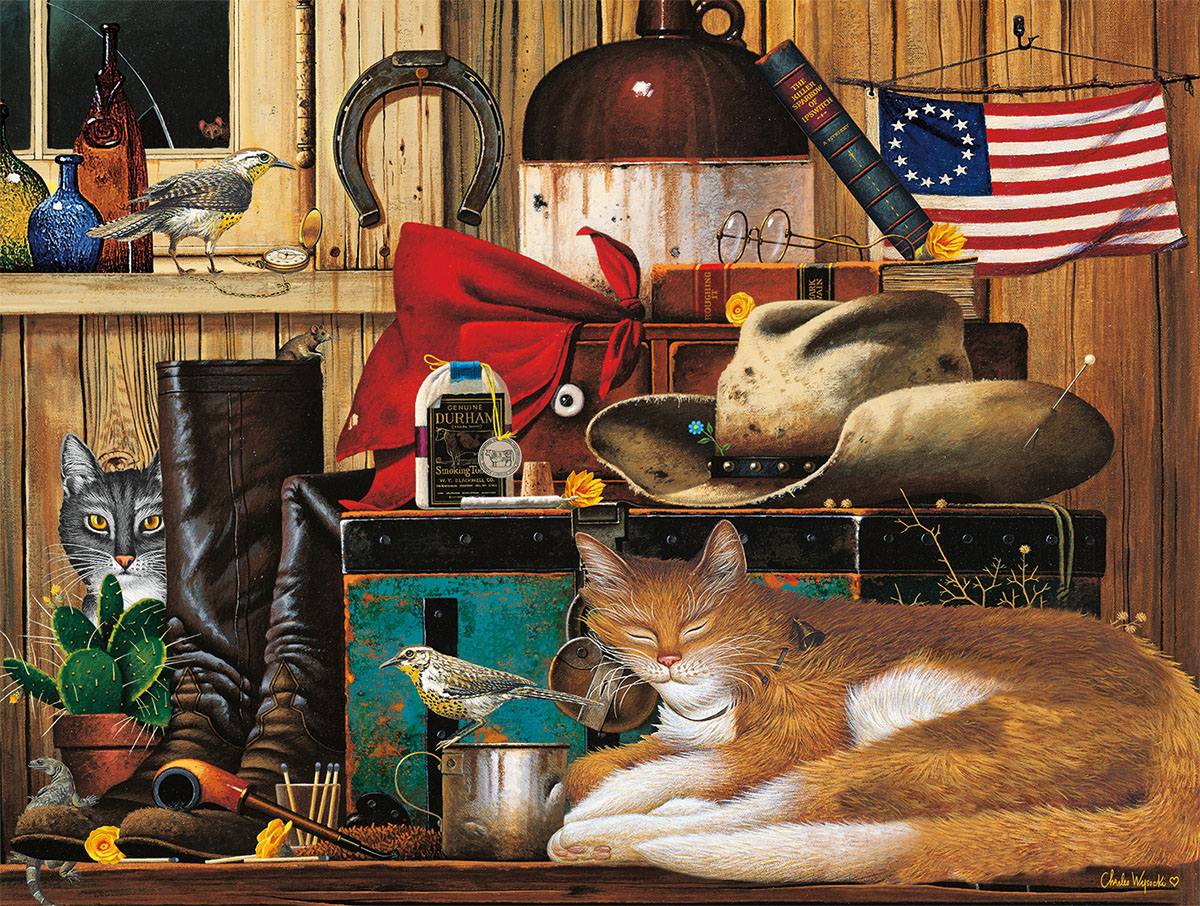 Travelling Cowboy Cats Jigsaw Puzzle