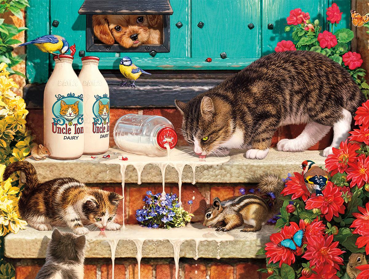 Doorstep Raiders Cats Jigsaw Puzzle