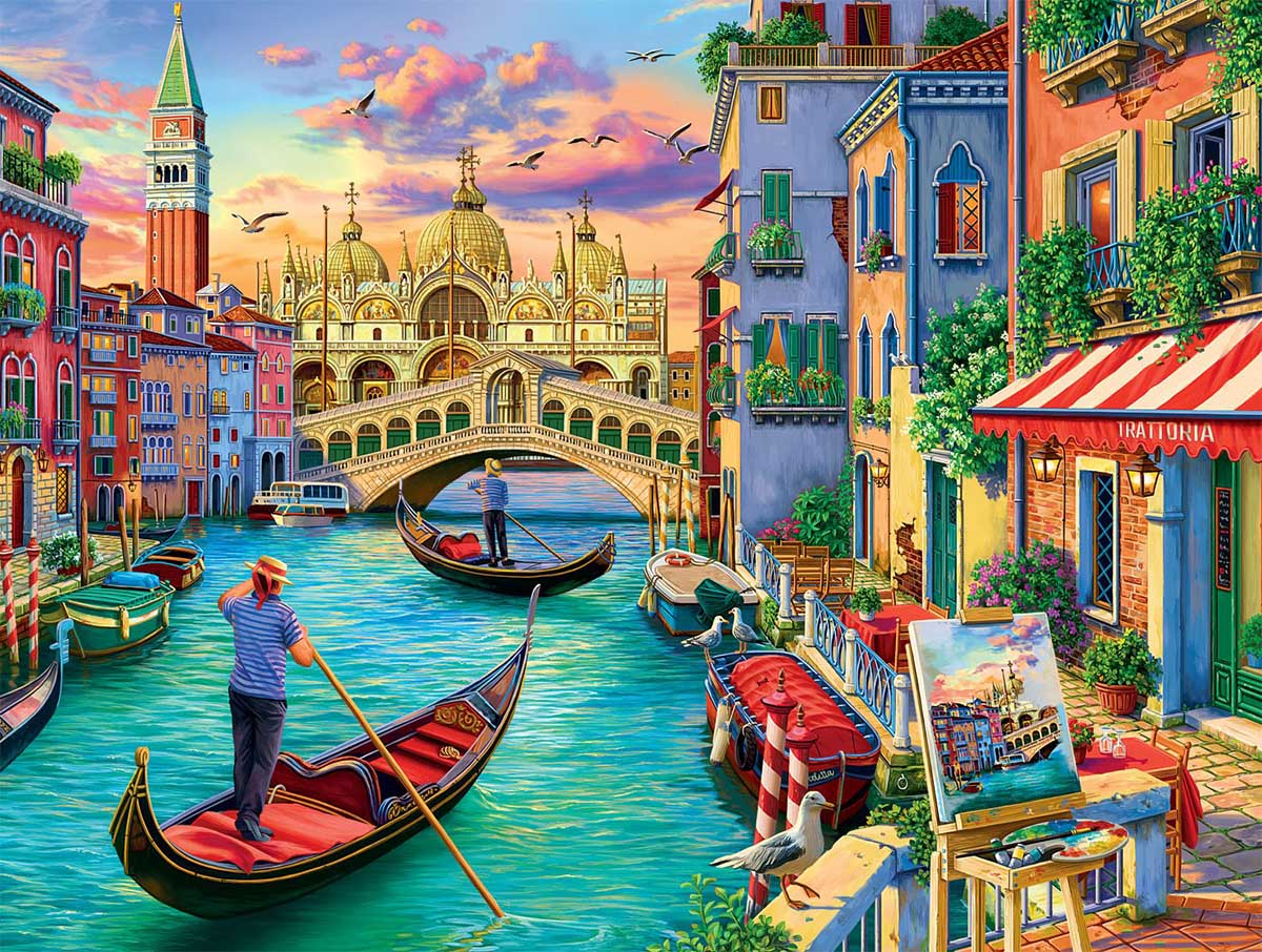 Sights Of Venice Boats Jigsaw Puzzle