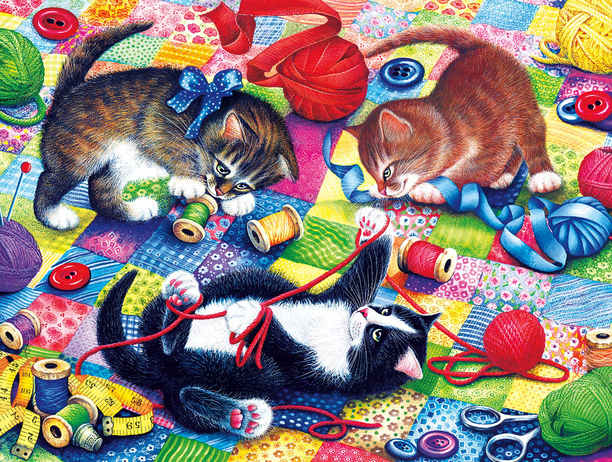Knitting Kittens Animals Jigsaw Puzzle