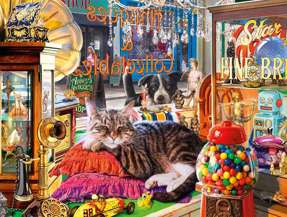 Curiosity Shop Cat Cats Jigsaw Puzzle