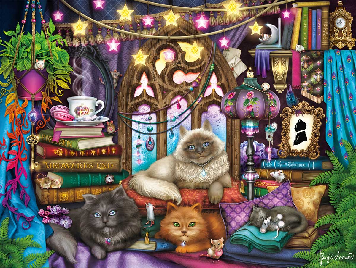 Evening Tea and Tales Cats Jigsaw Puzzle