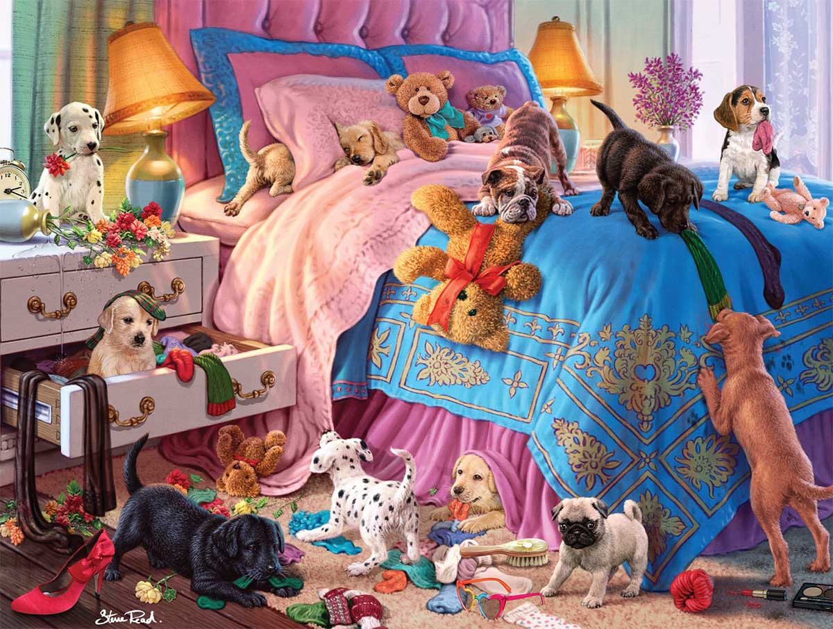 A Roomful of Naughty Puppies Dogs Jigsaw Puzzle