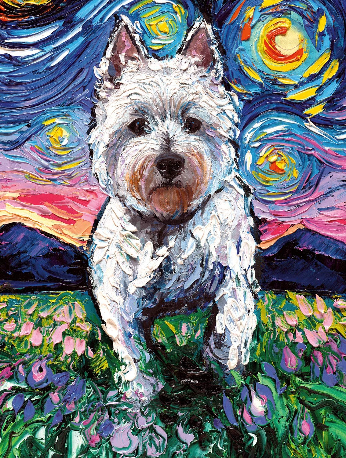 Westie Night Dogs Jigsaw Puzzle