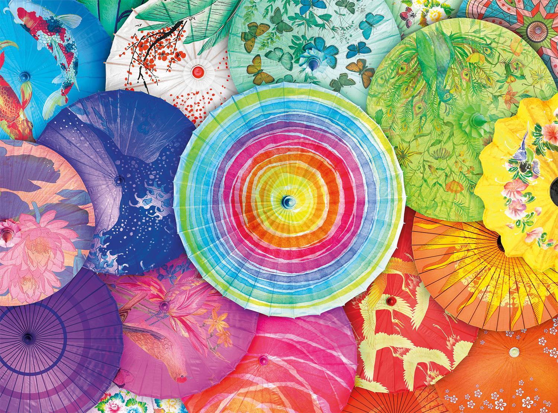 Rainbow Parasols Collage Jigsaw Puzzle