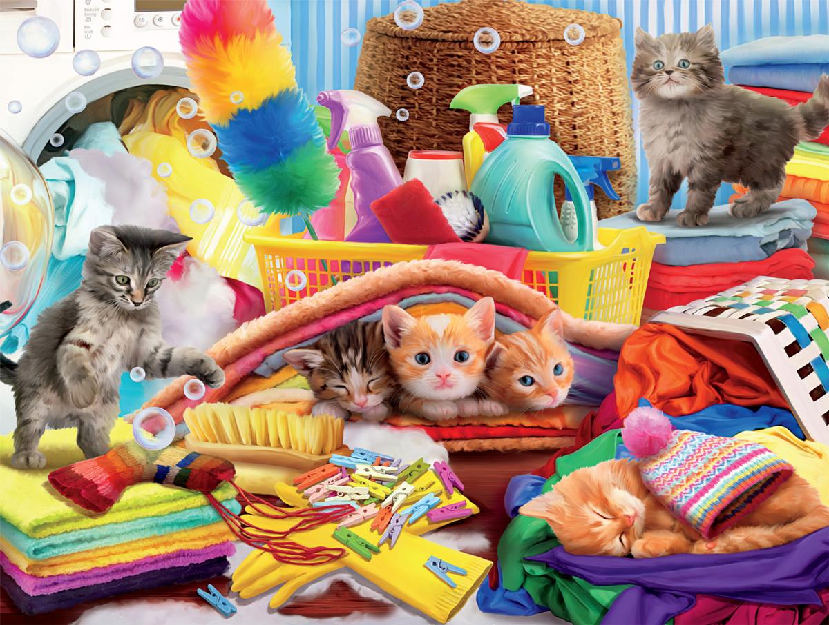 Laundry Kittens Cats Jigsaw Puzzle