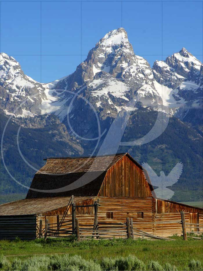 Barn at Grand Teton National Park Landscape Wooden Jigsaw Puzzle