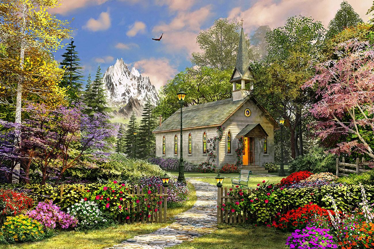 Mountain View Chapel Religious Jigsaw Puzzle