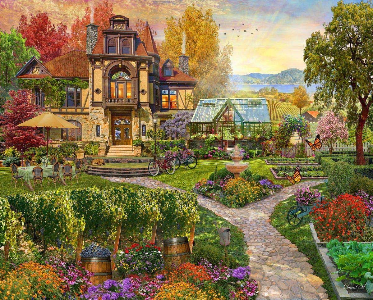 Vineyard Retreat Flowers Jigsaw Puzzle