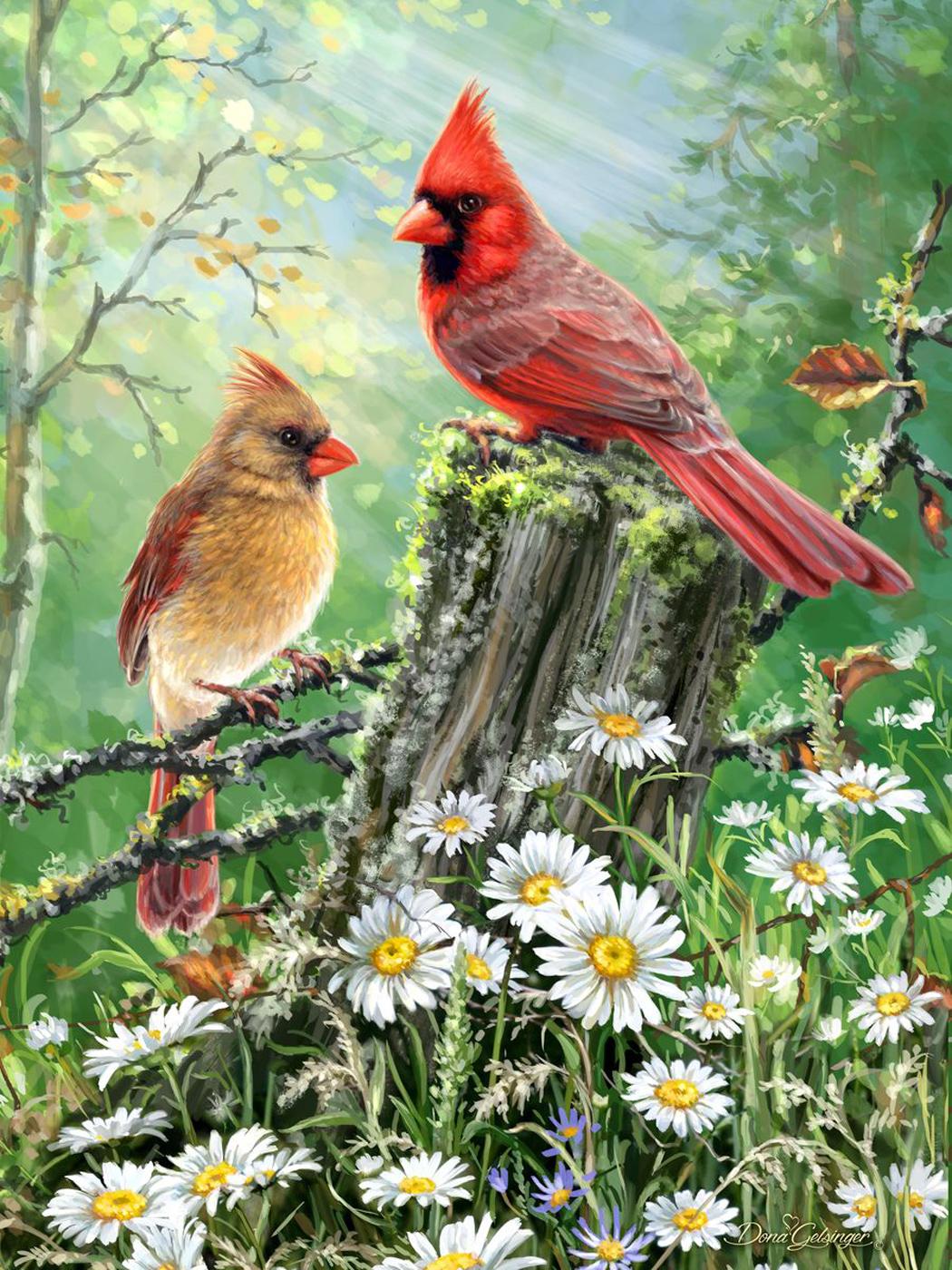 Golden Light Birds Jigsaw Puzzle