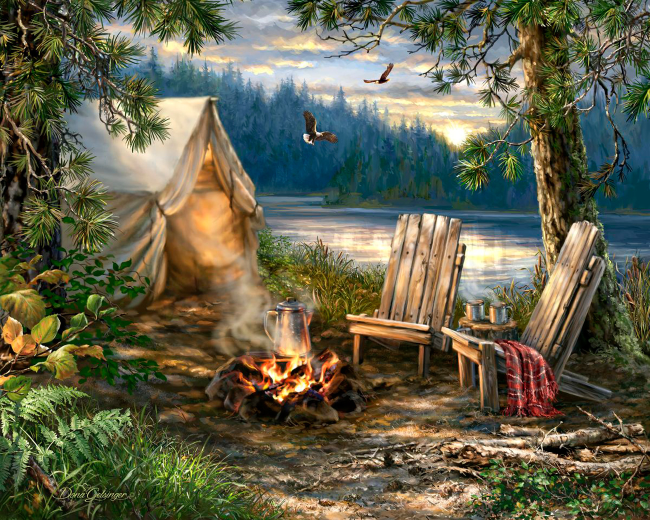 Evening At The Lake Outdoors Jigsaw Puzzle