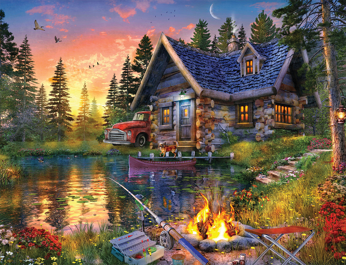 Sun Kissed Cabin Lakes / Rivers / Streams Jigsaw Puzzle