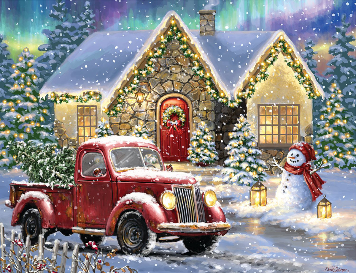 Christmas Night Lane Christmas Jigsaw Puzzle