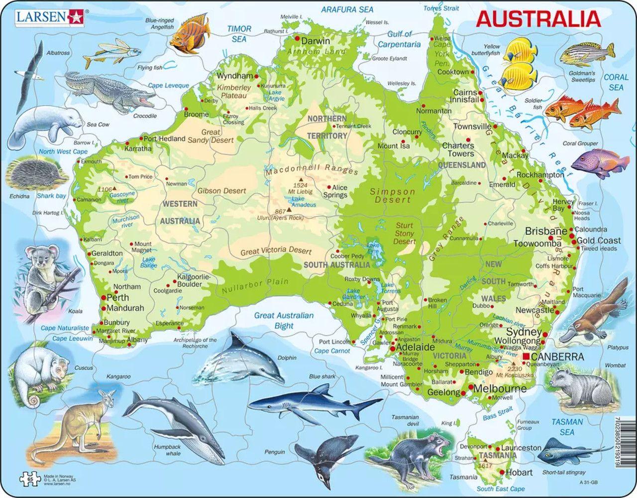 Australia Map With Animals Animals Children's Puzzles