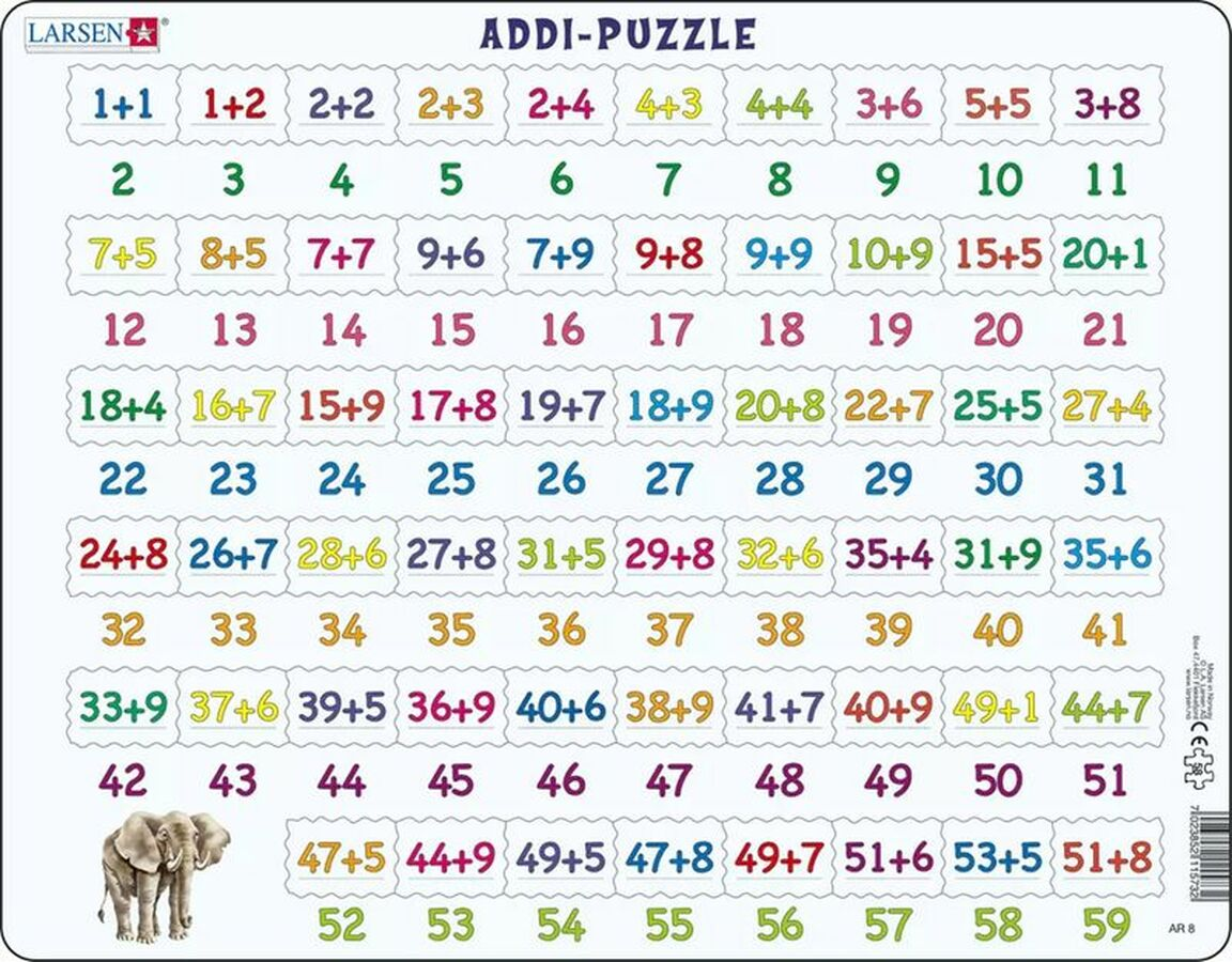 Learning Addition Children's Educational 58 Piece Jigsaw Puzzle Tray Puzzle