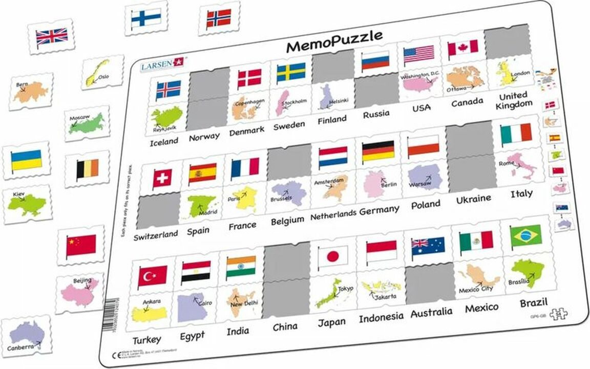 Country Flags And Capitals Educational Tray Puzzle