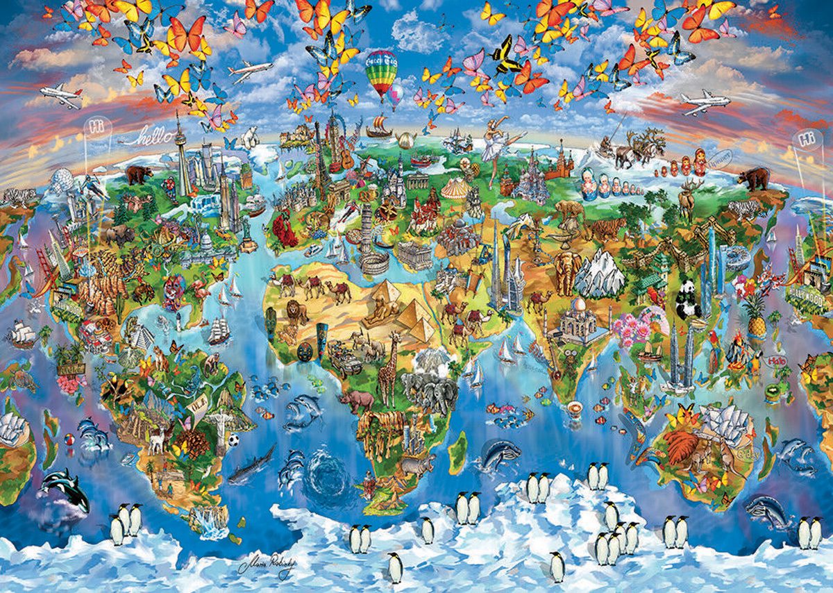 Colours From The World - Scratch and Dent Maps / Geography Jigsaw Puzzle