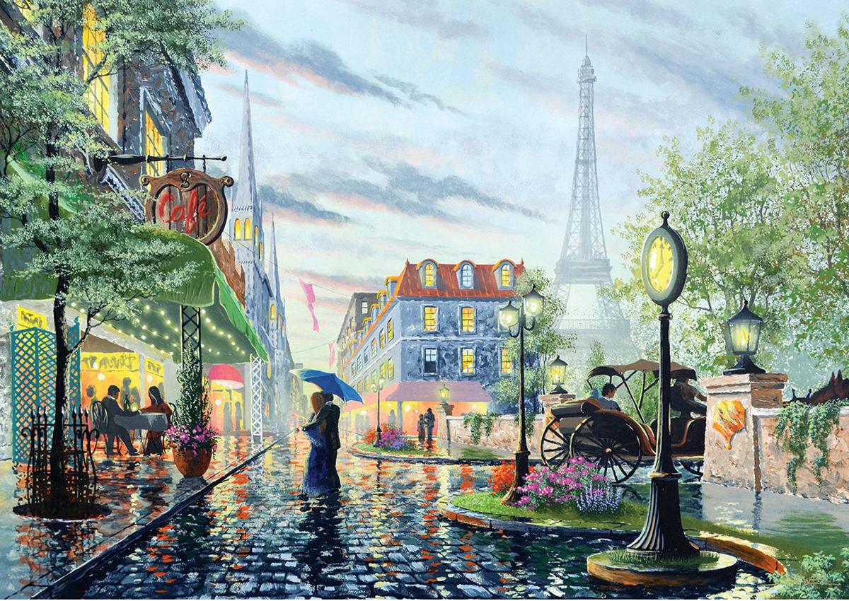 Summer Rain, Paris Street Scene Jigsaw Puzzle
