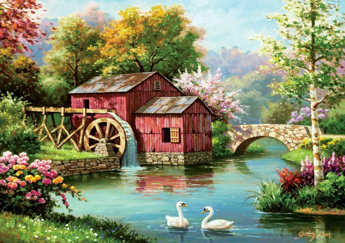 Old Red Mill Countryside Jigsaw Puzzle