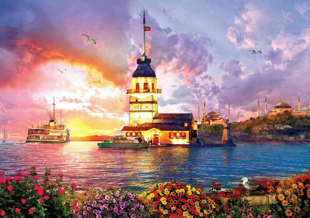 The Maiden's Tower Seascape / Coastal Living Jigsaw Puzzle
