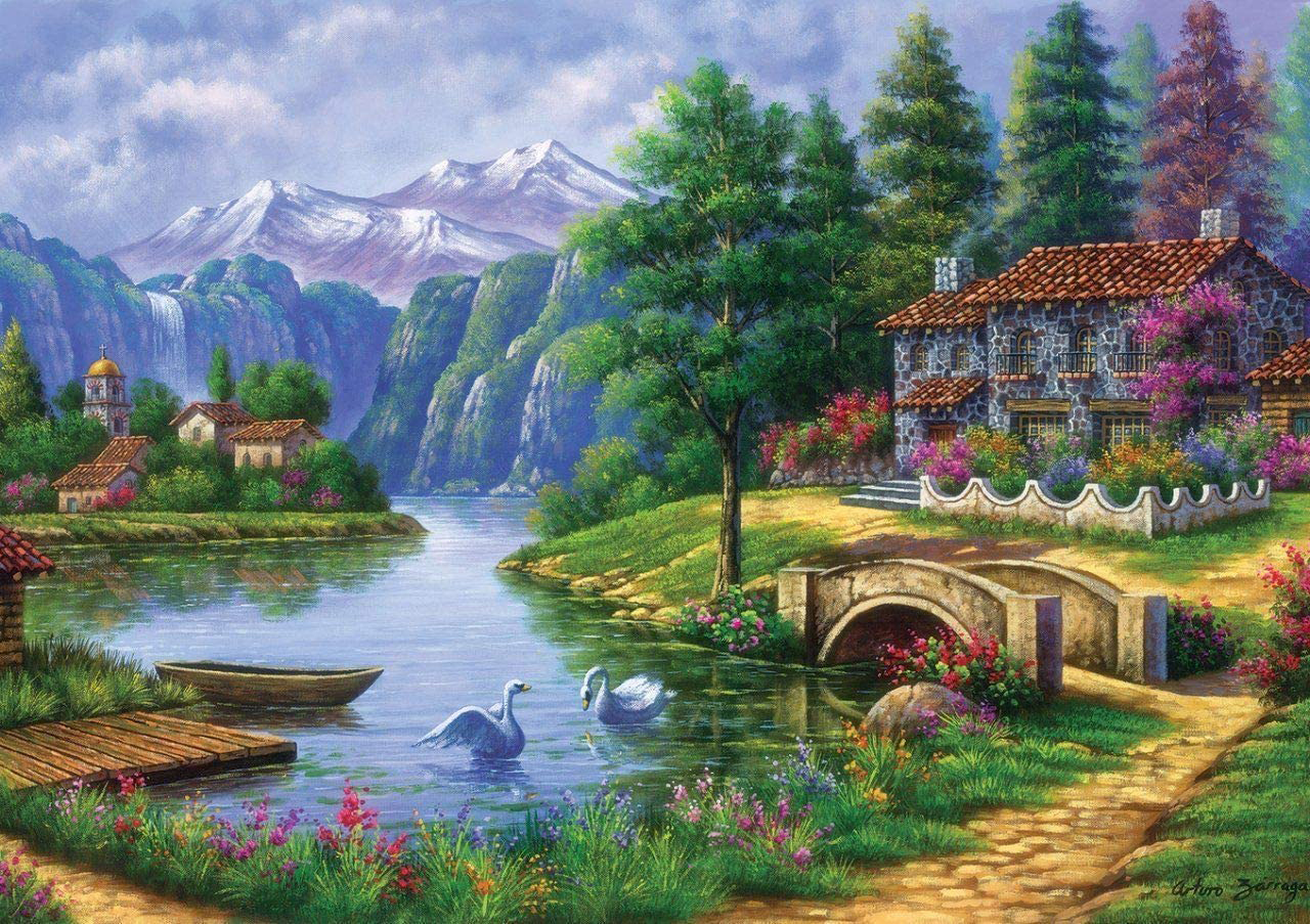 Village By Lake Mountains Jigsaw Puzzle