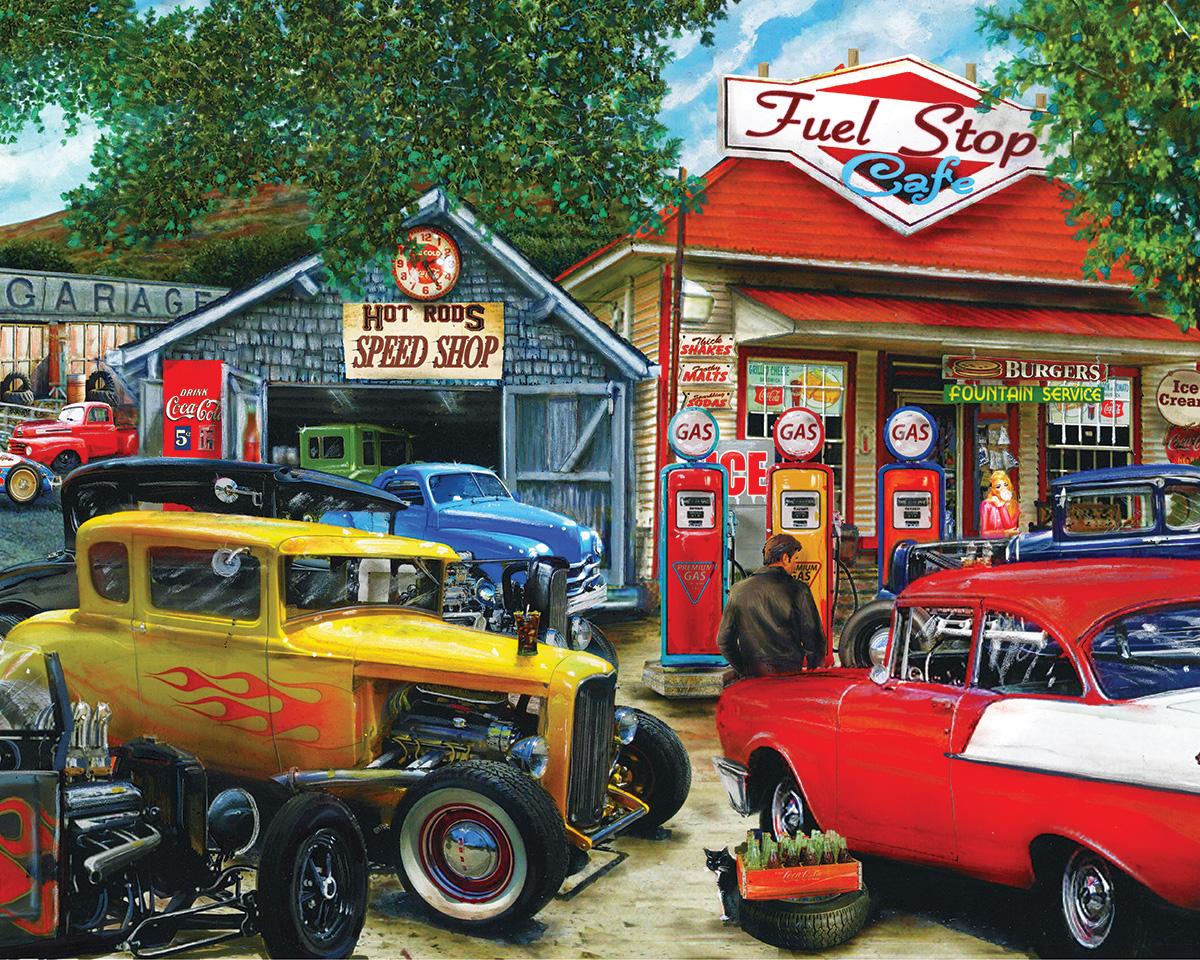 Hot Rod Cafe Vehicles Jigsaw Puzzle