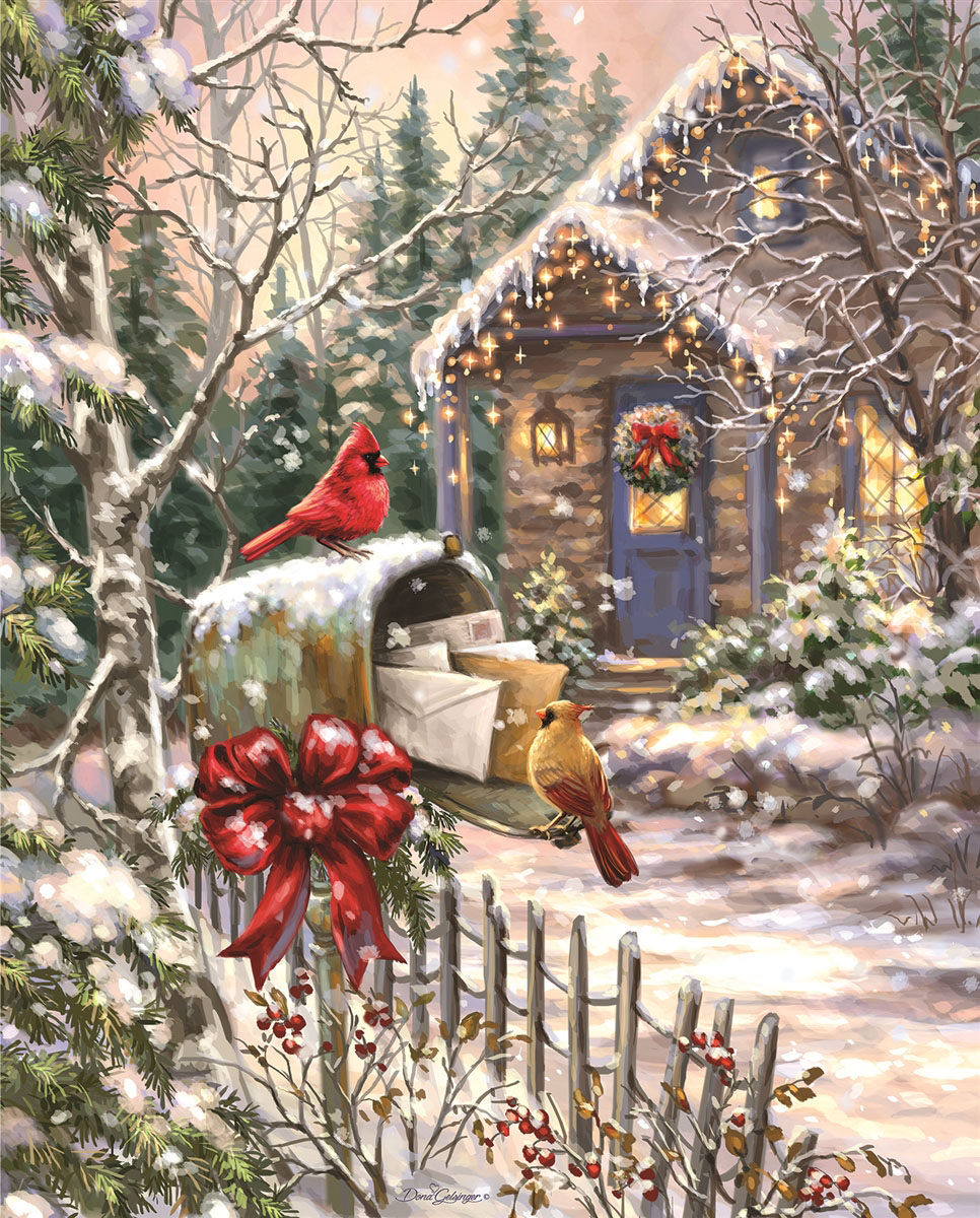 Cardinal Cottage Birds Jigsaw Puzzle