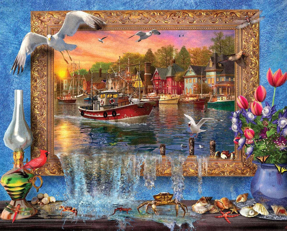 Seaside Harbor Boats Jigsaw Puzzle
