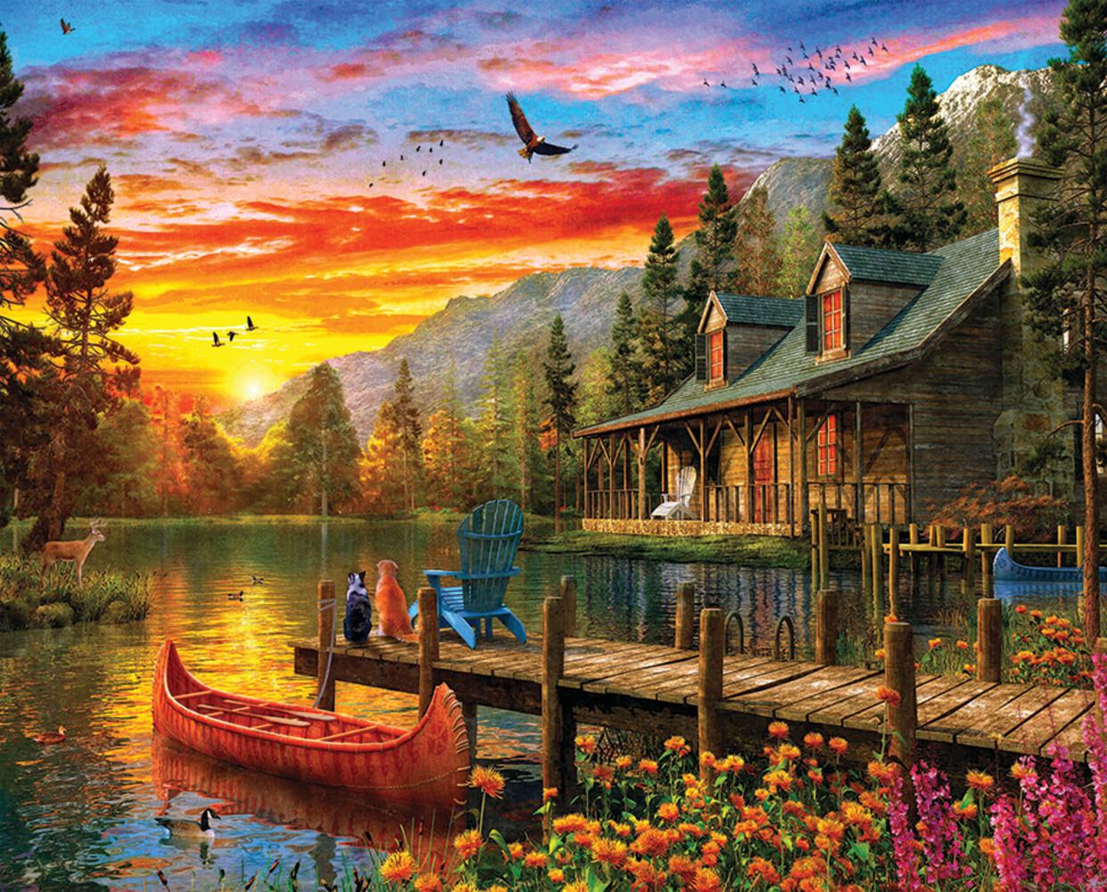 Cabin Evening Sunset Travel Jigsaw Puzzle