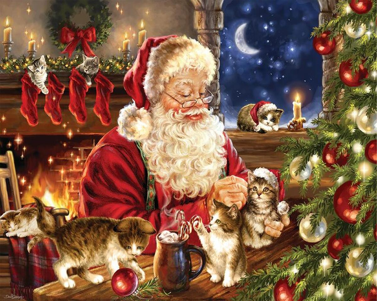 Christmas Kittens Santa Jigsaw Puzzle