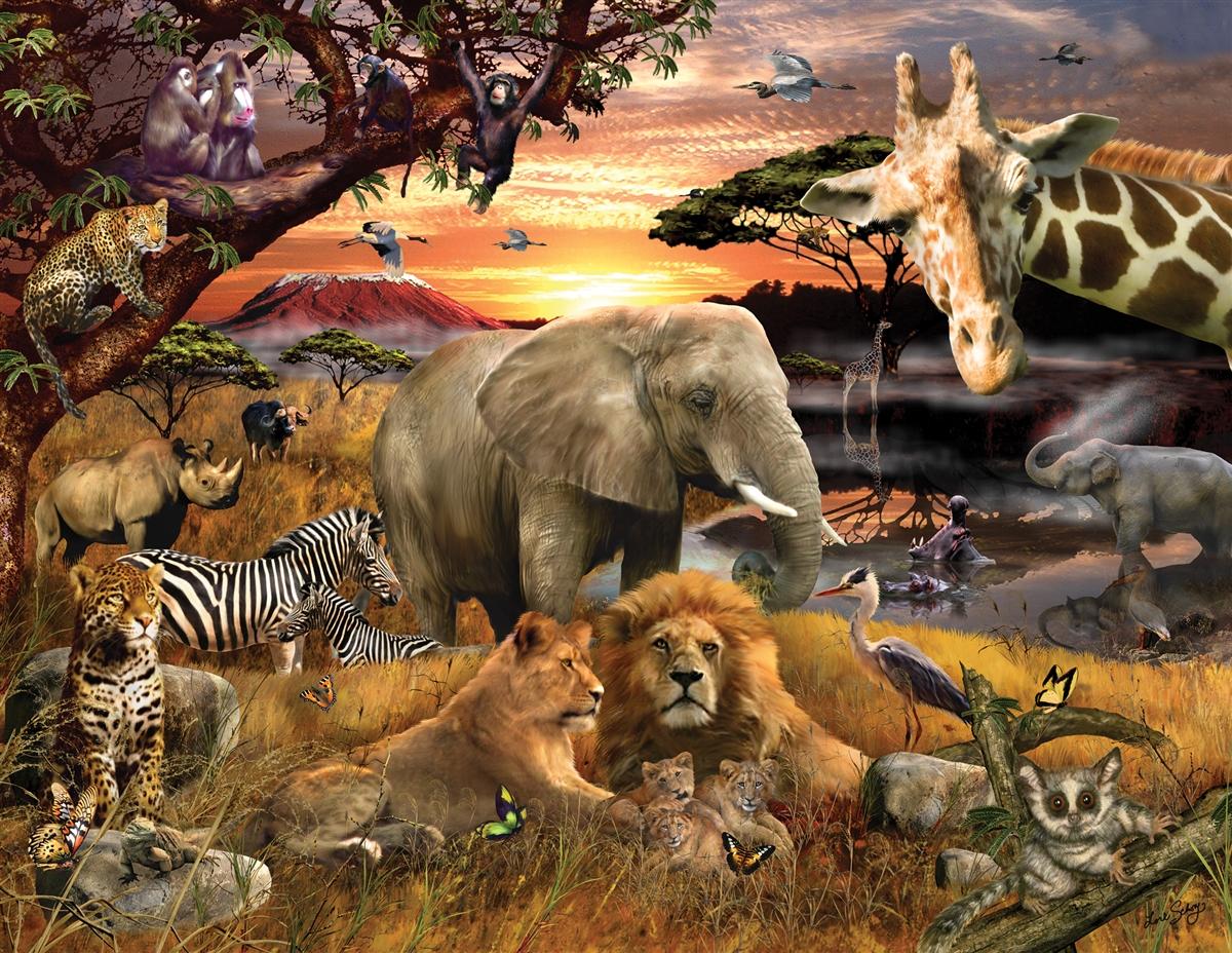 Wild Savanna Jungle Animals Jigsaw Puzzle