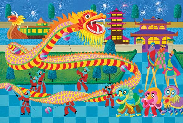 Hometown Collection Dragon Dance Jigsaw Puzzle