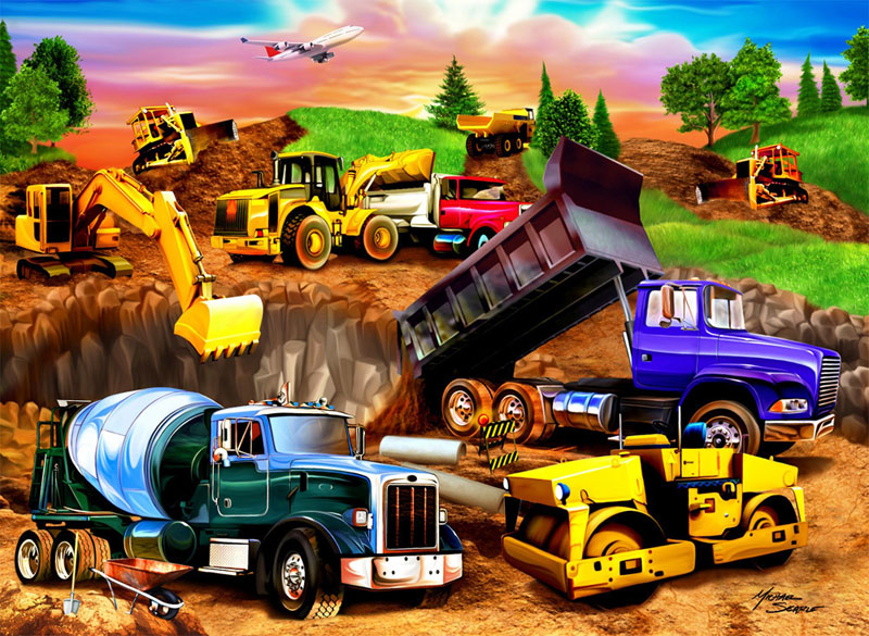 Construction Crowd Vehicles Jigsaw Puzzle