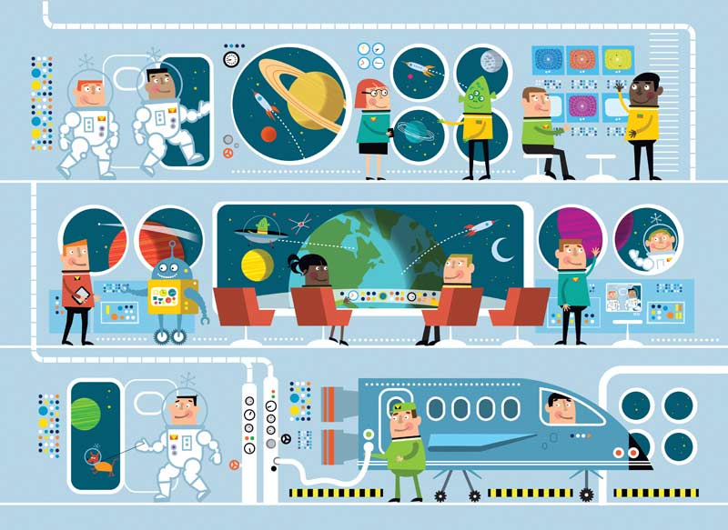 Space Station Cartoons Jigsaw Puzzle